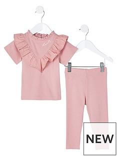 river-island-mini-mini-girls-poplin-legging-set-pink