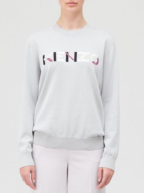 kenzo-logo-knitted-jumper-grey