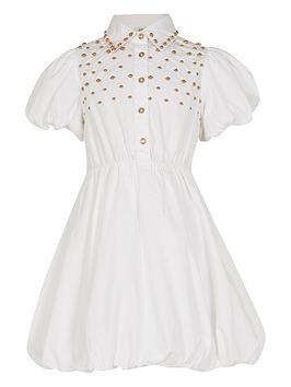 River Island Girls Studded Shirt Dress-White, White, Size Age: 11 Years, Women