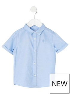 river-island-mini-mini-boys-short-sleeve-twill-shirt--nbspblue
