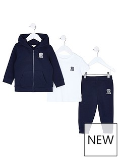 river-island-mini-mini-boys-3-piece-jog-and-t-shirt-set--nbspnavy