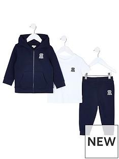 river-island-mini-mini-boys-3-piece-jog-and-tshirt-set-navy
