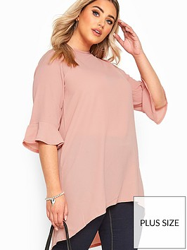 yours-yoursnbsplondon-blush-flute-sleeve-tunic-pink