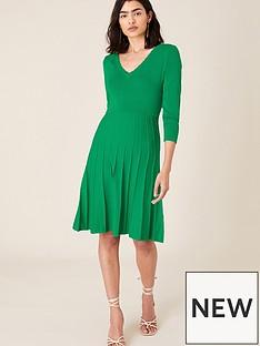 monsoon-scallop-v-neck-dress-green