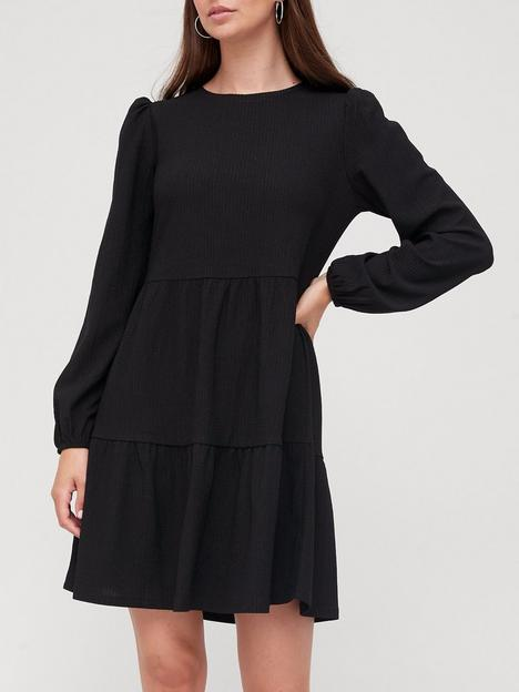 v-by-very-textured-tiered-mini-dress-black