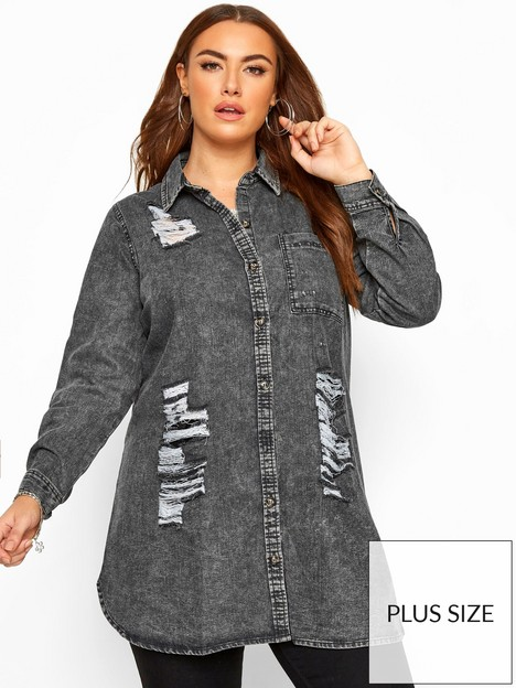 yours-yoursnbspdistressed-denim-shirt-grey