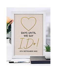signature-gifts-a4-framed-wedding-countdown-dry-wipe-pen