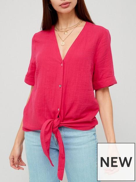 v-by-very-short-sleeve-tie-hem-shirt-hot-pink