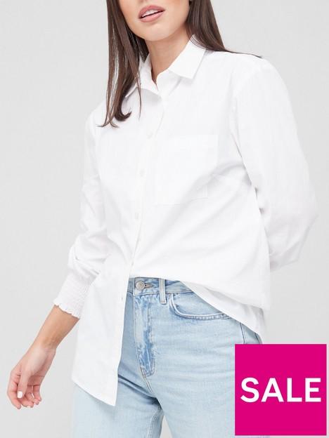 v-by-very-shirred-cuff-detail-shirt-white