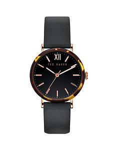 ted-baker-ted-baker-black-sunray-and-tortoise-shell-detail-dial-black-leather-strap-ladies-watch