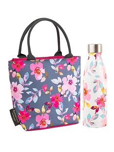 summerhouse-by-navigate-gardenia-insulated-floral-lunch-tote-500ml-insulated-drink-bottle