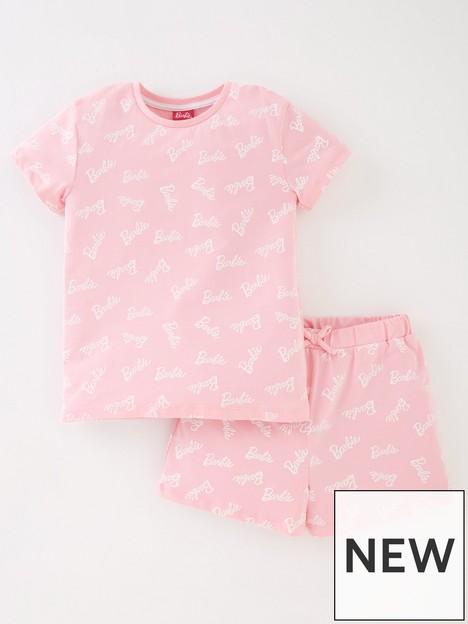 barbie-girls-barbie-all-over-print-short-sleeve-pyjamas-pink