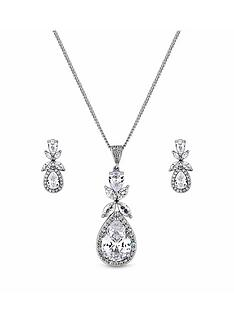 jon-richard-rhodium-cz-floral-pendant-and-earring-set