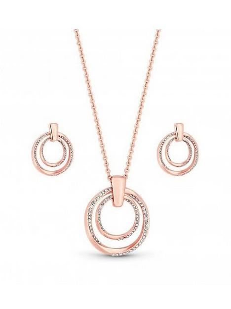 mood-rose-gold-plated-polished-and-crystal-twist-open-necklace-and-earring-set