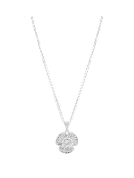 simply-silver-simply-silver-sterling-silver-baguette-flower-pendant