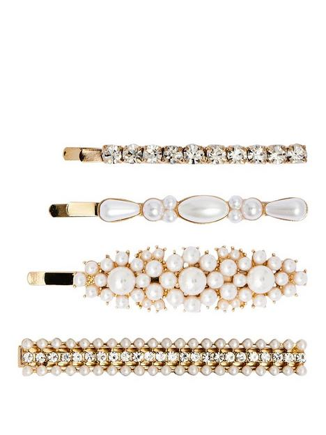mood-gold-plated-cream-pearl-and-crystal-slide-and-barette-4-pack
