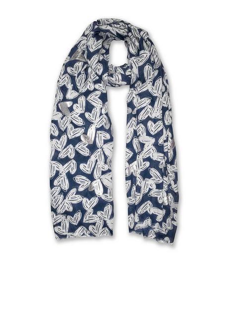 katie-loxton-metallic-scarf-scattered-heart-print-navy