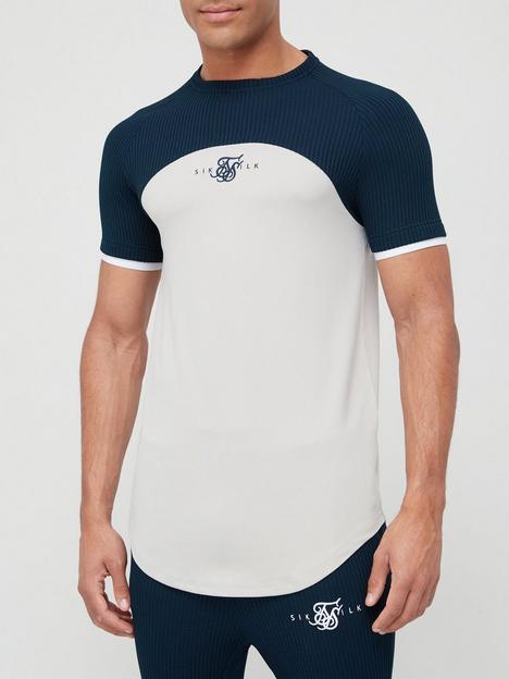 sik-silk-short-sleeve-embossed-prestige-gym-t-shirt-navy