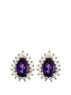 love-gem-love-gem-9ct-yellow-gold-amethyst-017ct-diamond-cluster-stud-earrings