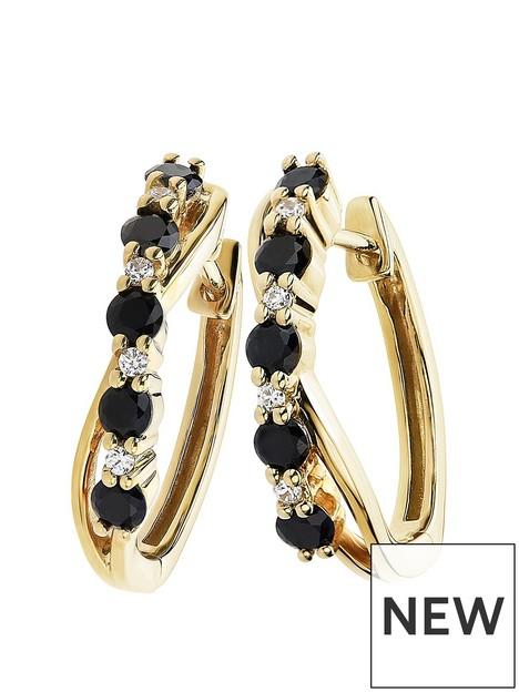 love-gem-9ct-yellow-gold-black-sapphire-and-diamond-hoop-earrings