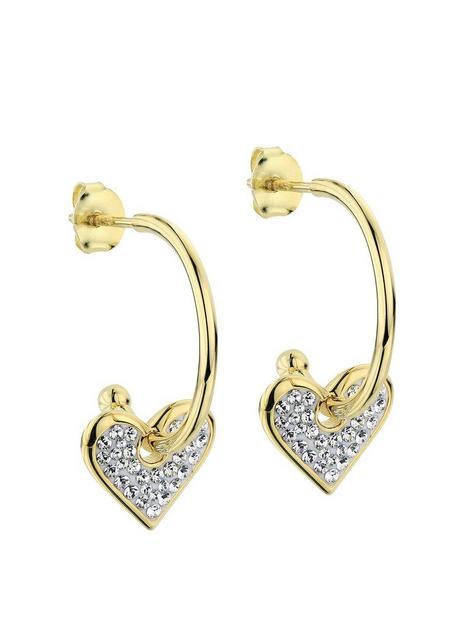 evoke-sterling-silver-gold-plated-removable-crystal-heart-charm-hoop-stud-earrings