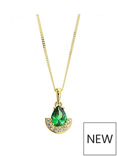 the-love-silver-collection-the-love-silver-collection-925-sterling-silver-gold-plated-half-halo-cubic-zirconia-pear-cut-pendant-with-162-inch-chain