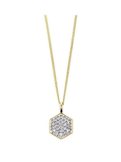 evoke-925-sterling-silver-yellow-gold-plated-swarovski-crystal-hexagon-pendant