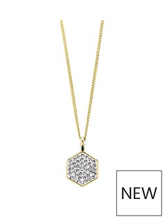 evoke-evoke-925-sterling-silver-yellow-gold-plated-swarovski-crystal-hexagon-pendant-with-162inch-curb-chain