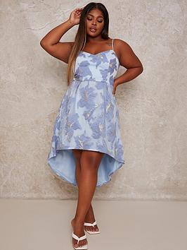 chi-chi-london-curve-jacquard-dip-hem-dress-blue