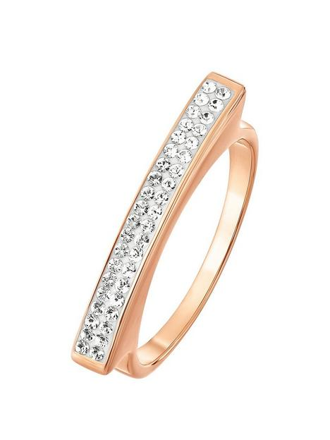 evoke-925-sterling-silver-rose-gold-plated-clear-swarovski-crystal-linear-ring