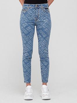 versace-jeans-couture-all-overnbsplogo-printnbspskinny-jeansnbsp--blue