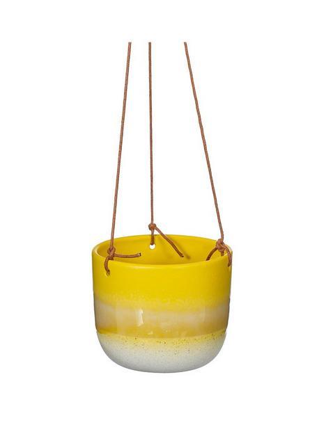 sass-belle-mojave-glaze-yellow-hanging-planter