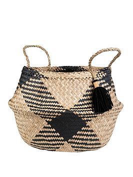 sass-belle-black-tribal-tassel-basket