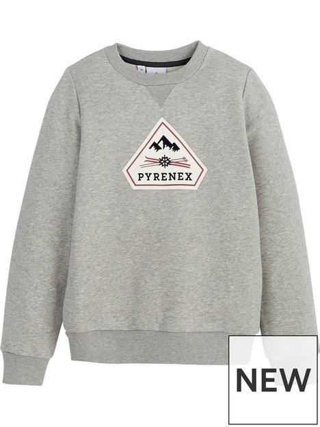 pyrenex-girls-charles-script-logo-sweatshirt-grey-marl