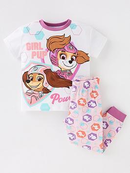 paw-patrol-girls-paw-patrol-movie-short-sleeve-pyjamas-whitepinkprint