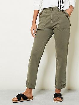 Mint Velvet Washed Zip Chino - Khaki, Khaki, Size 8, Women