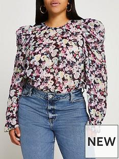 ri-plus-ri-plus-floral-organza-puff-sleeve-blouse-navy