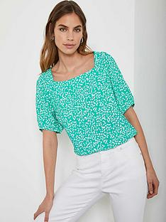 mint-velvet-verity-spot-puff-sleeve-top-green