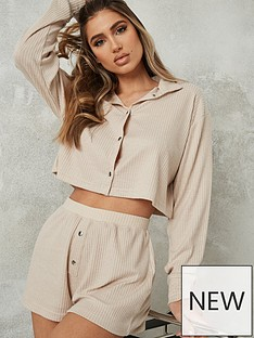 missguided-missguided-soft-touch-rib-crop-shirt-short-pj-set-ivory