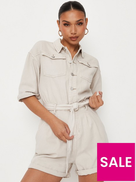missguided-missgiuded-utility-style-playsuit-beige