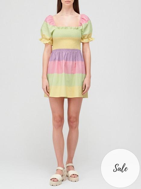 olivia-rubin-emilie-shirred-colourblock-mini-dress-multi