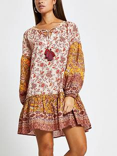 river-island-mixed-print-smock-dress-orange