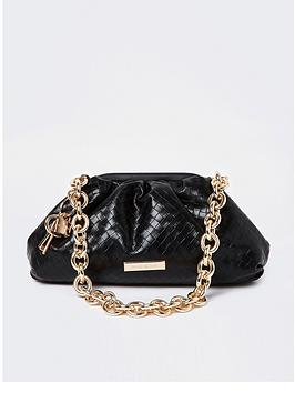 River Island Chain Rouched Shoulder Bag - Black, Black, Women