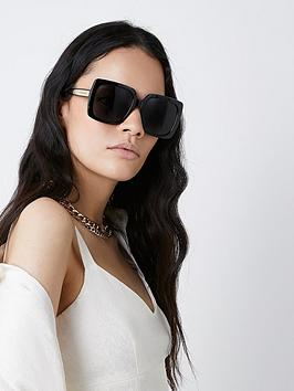 River Island Oversized Square Glasses - Black, Black, Women