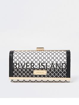 River Island Monogram Purse - Black, Black, Women