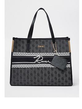 River Island Ri Shopper Bag - Black, Black, Women