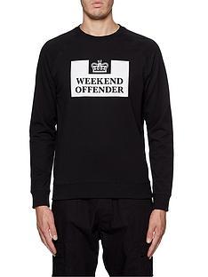 weekend-offender-weekend-offender-penitentiary-fleece-classic-prison-print-sweatshirt-black