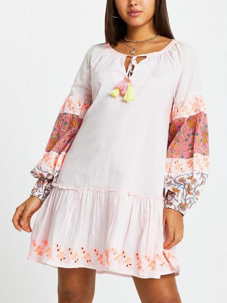 river-island-printed-sleeve-smock-dress-pink