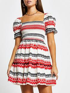 river-island-puff-sleeve-dress-red