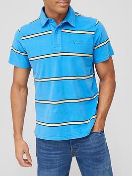 Superdry Academy Stripe Polo Shirt - Blue, Blue Stripe, Size S, Men